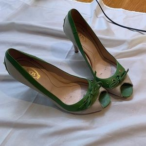Tod's green stacked heels pumps 38/7 Italy